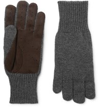 Brunello Cucinelli Perforated Suede Panelled Cashmere Gloves Gray