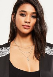 Missguided Silver Layered Moon Pendant Necklace