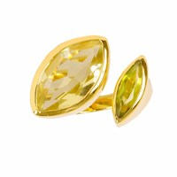 Neola Celestine Gold Cocktail Ring Peridot And Citrine