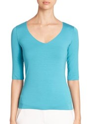 Armani Collezioni Elbow Sleeve Jersey Tee Blue
