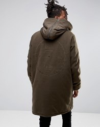 Asos Cut And Sew Wool Mix Parka With Back Embroidery In Khaki Khaki Green