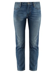 Vince Distressed Straight Leg Jeans Mid Blue