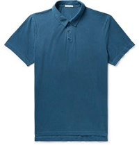 James Perse Supima Cotton Jersey Polo Shirt Blue
