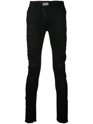 Fagassent Crawling Cut Skinny Trousers Men Cotton Linen Flax 3 Black
