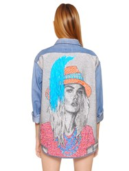 Forte Couture Cotton Denim Jacket With Woven Back