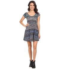 Rock And Roll Cowgirl Short Sleeve Knit Dress 19 3391 Royal Women's Dress Navy