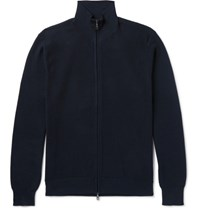 Brioni Honeycomb Knit Cotton Zip Up Cardigan Navy