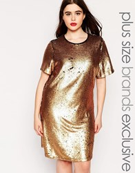 Truly You Sequin Tshirt Dress Gold