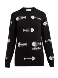Prada Fish Jacquard Wool Blend Sweater Black Multi