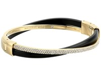 Michael Kors Autumn Luxe Acetate And Stainless Cross Hinged Bangle Bracelet Gold Black Bracelet