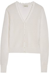3.1 Phillip Lim Ruffle Trimmed Open Knit Wool Blend Cardigan Off White