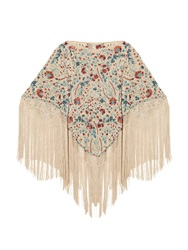 Talitha Sasha Embroidered And Fringed Poncho