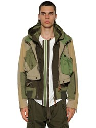 Dsquared Multi Pocket Cotton Twill Bomber Jacket Army Green