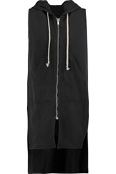 Rick Owens Dark Shadow Cotton Jersey Hooded Vest Black