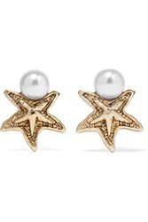 Oscar De La Renta Sea Star Gold Tone Swarovski Pearl Earrings