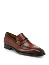 Saks Fifth Avenue By Magnanni Leather Penny Loafers Cognac