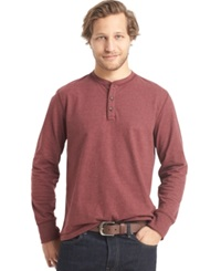 G.H. Bass And Co. Long Sleeve Henley T Shirt Chocolate Truffle Heather