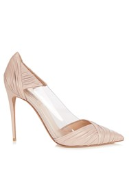 Valentino B Drape Leather Pumps Nude