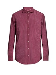 Massimo Alba Button Cuff Striped Cotton Shirt Pink Black