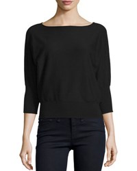 Milly Boat Neck Dolman Sleeve Blouson Pullover Black