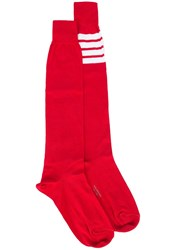 Thom Browne Striped Patch Socks Red
