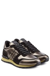 Valentino Rockstud Suede And Leather Sneakers Multicolor