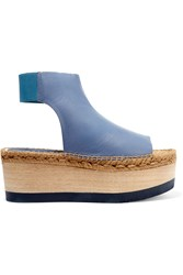 Paloma Barcelo Ceralin Cutout Leather Platform Sandals Blue