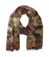 Pendleton Jaquard Muffler Land Of The Buffalo Scarves Brown