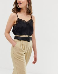 Stradivarius Pu Rafia Belt In Black
