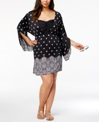Dotti Plus Size Gypsy Dancer Printed Cover Up Tunic Women's Swimsuit Black White