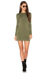 Blq Basiq Long Sleeve Mini Dress Green