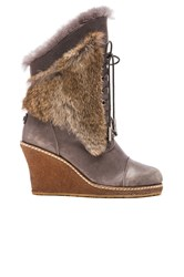 Australia Luxe Collective Meditere Rabbit Fur Wedge Boot Gray