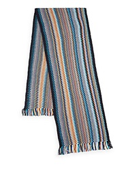 Missoni Chevron Patterned Knit Scarf Blue