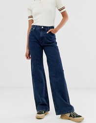Monki Yoko Wide Leg Jeans With Organic Cotton In Dark Blue
