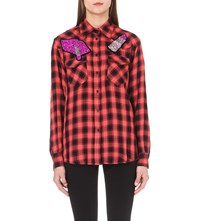 Forte Couture Star Dust Cotton Flannel Shirt Blk Red