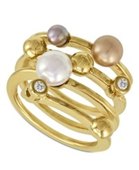 Majorica Endless Pearl Ring 18K Gold Over Sterling Silver Multicolor Organic Man Made Pearl Ring