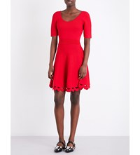 Claudie Pierlot Scalloped Cutout Fit And Flare Knitted Dress Ruby