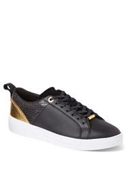Ted Baker Kulie Leather Cup Sole Trainers Black Rose Gold