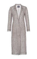 Monique Lhuillier Tile Embroidered Evening Coat Silver