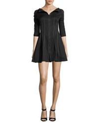 Monse Laced Sleeve Fit And Flare Dress Black