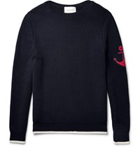 Gucci Anchor Appliqued Cotton Sweater Blue