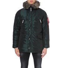 Alpha N3 B Quilted Shell Parka Coat Dark Petrol