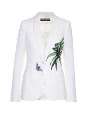 Dolce And Gabbana Kenzia Leaf Applique Single Breasted Jacket White