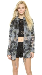 Vera Wang Watercolor Organza Parka Blue