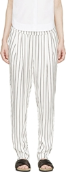 Won Hundred White And Black Striped Bandy Trousers