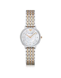 Emporio Armani Kappa Two Tone Stainless Steel Women's Quartz Watch W Mother Of Pearl Dial Silver
