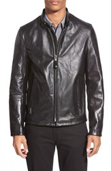 Schott Nyc Men's 'Casual Cafe Racer' Slim Fit Leather Jacket Black Black