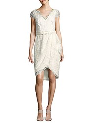 Marchesa Belted Embroidered Tulle Dress Ivory