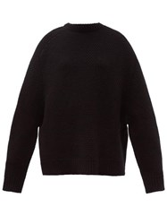 Raey Crew Neck Basket Weave Wool Sweater Black
