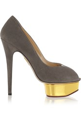 Charlotte Olympia Daphne Suede Pumps Gray